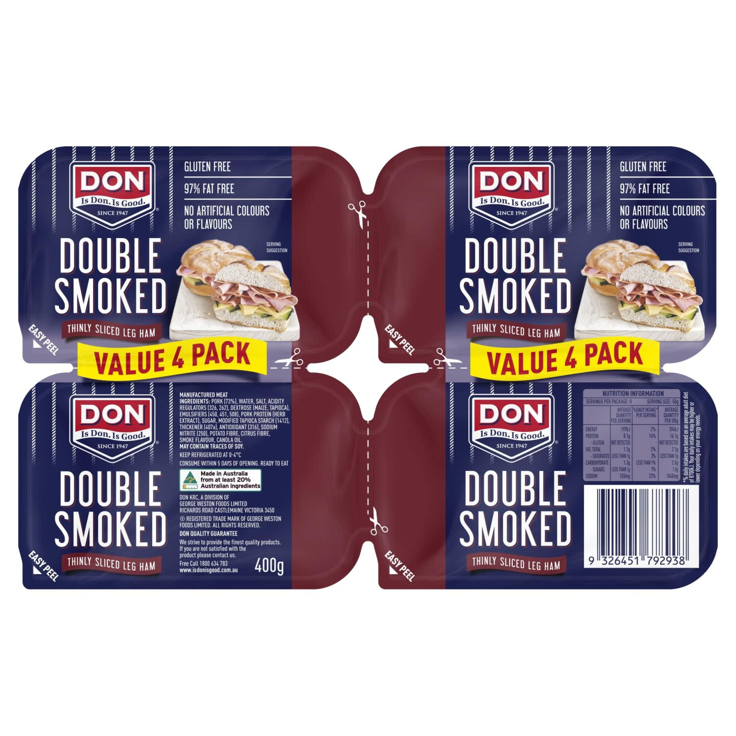 Don Double Smoked Shaved Ham, 400 Gram