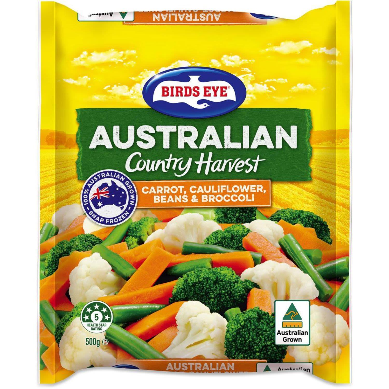 Birds Eye Country Harvest Carrot Cauliflower Beans & Broccoli, 500 Gram