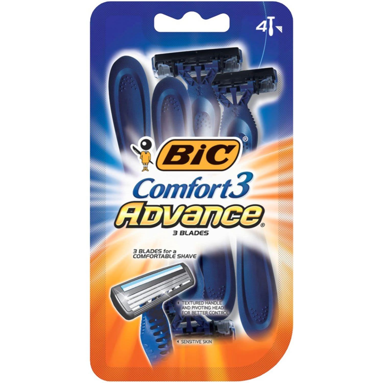 BIC Comfort 3 Advance Shavers, 4 Each