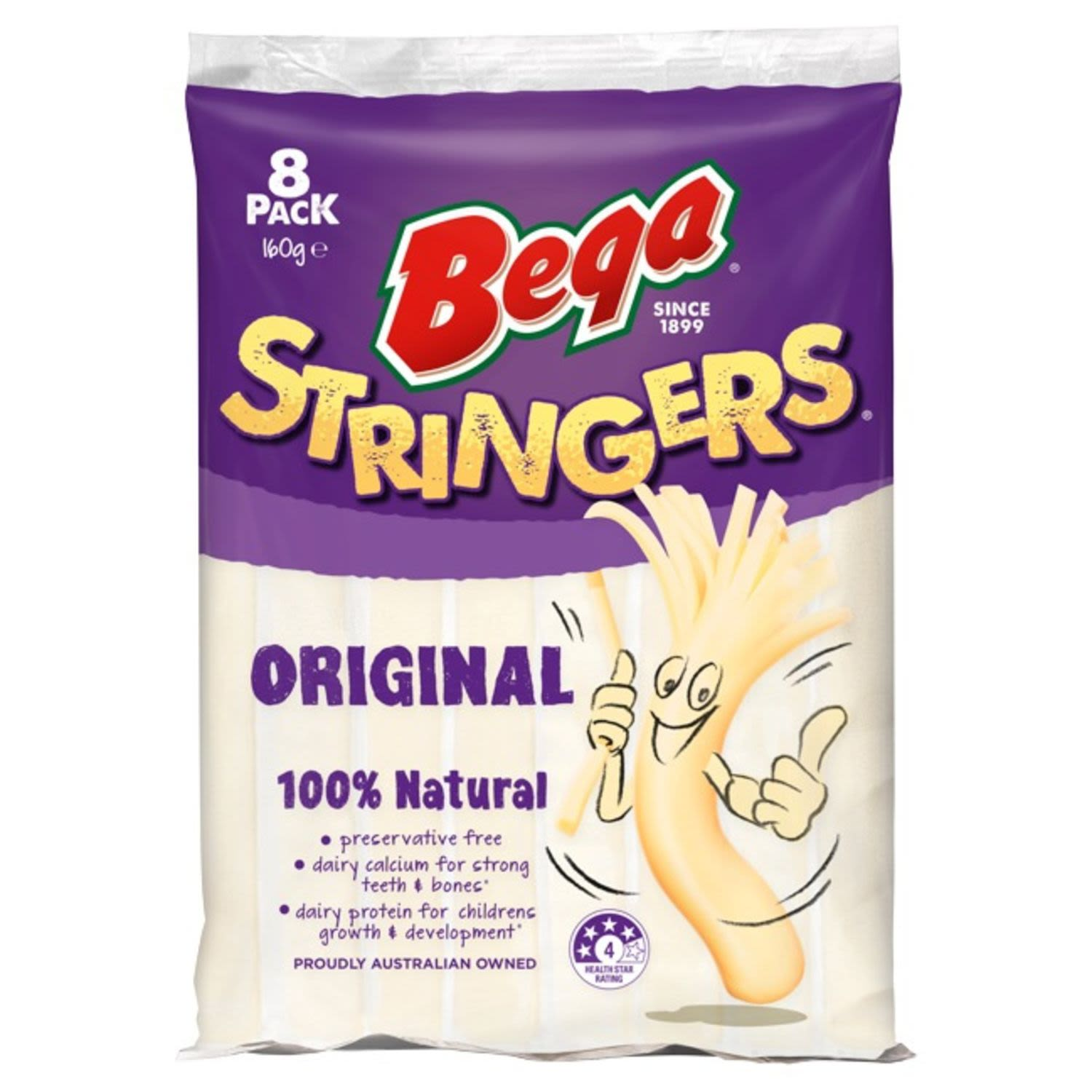 What makes Bega...Bega?  Over 100 years of dairying heritage resulting in the unique taste you know and love. - 5 Natural ingredients. - Easy for kids to open. - Fun to string & eat. - Proudly Australian Owned. - No artificial colours or flavours. 100% natural. - preservative free. - Dairy protein for children's growth & development (As part of a healthy eating plan combined with regular physical activity).  -Dairy protein for strong teeth & bones (As part of a healthy eating plan combined with regular physical activity).