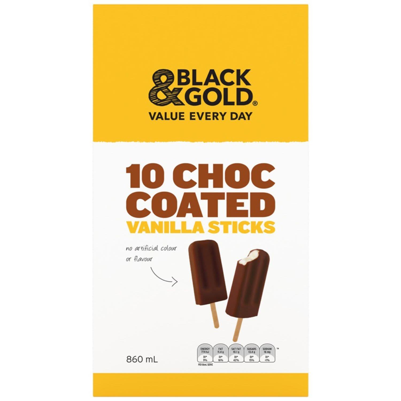 Black & Gold Choc Coated Ice Cream, 10 Each