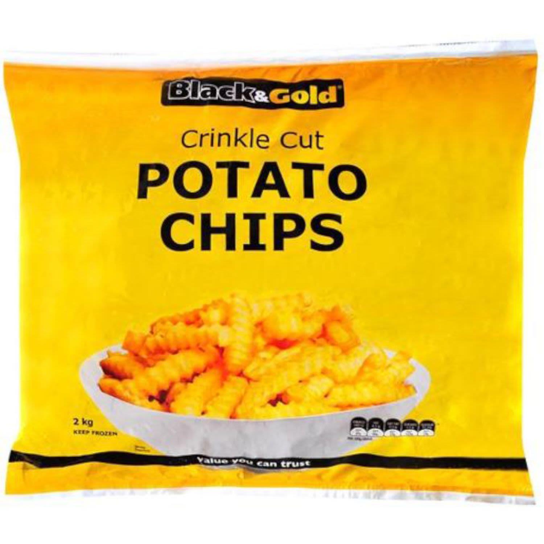 Black & Gold Crinkle Cut Chips, 2 Kilogram