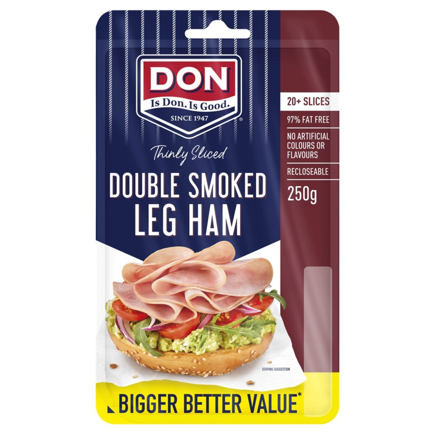 Don Thinly Sliced Double Smoked Leg Ham , 250 Gram