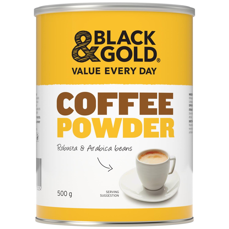 Black & Gold Coffee Powder Tin, 500 Gram