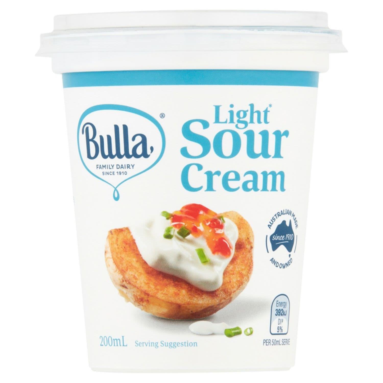 Bulla Light Sour Cream, 200 Millilitre