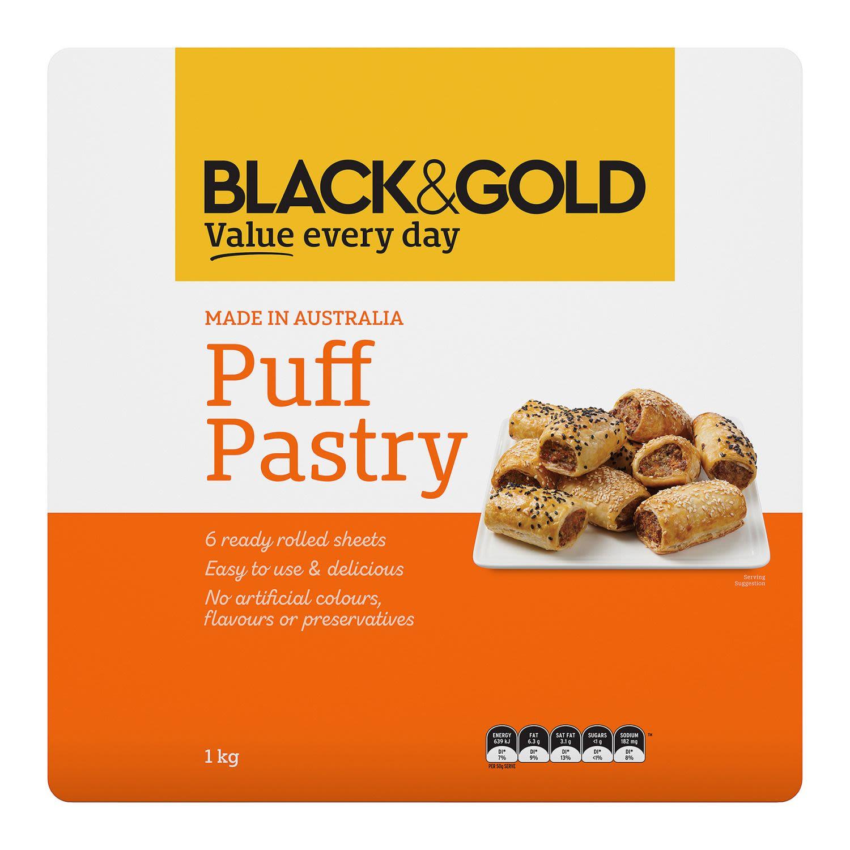 Black & Gold Puff Pastry Sheets, 1 Kilogram