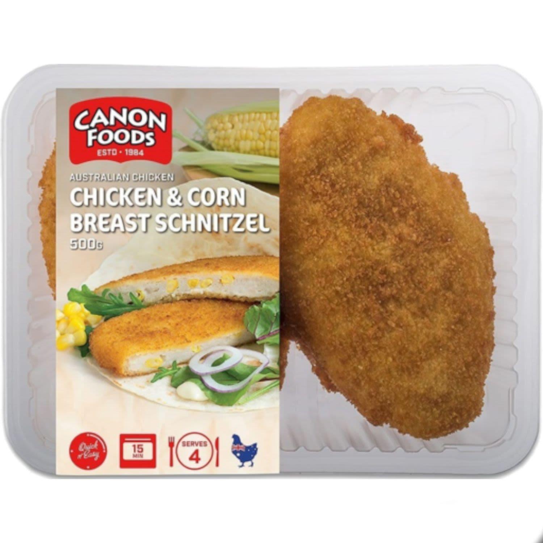 Canon Foods Chicken Corn Breast Schnitzel, 500 Gram