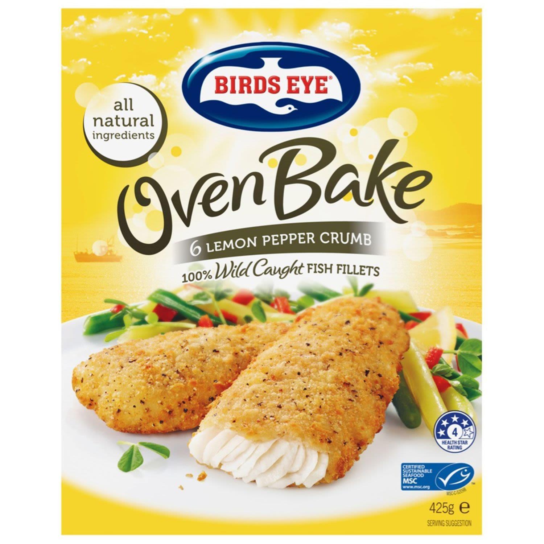 Birds Eye Oven Bake Crumbed Lemon Pepper, 425 Gram