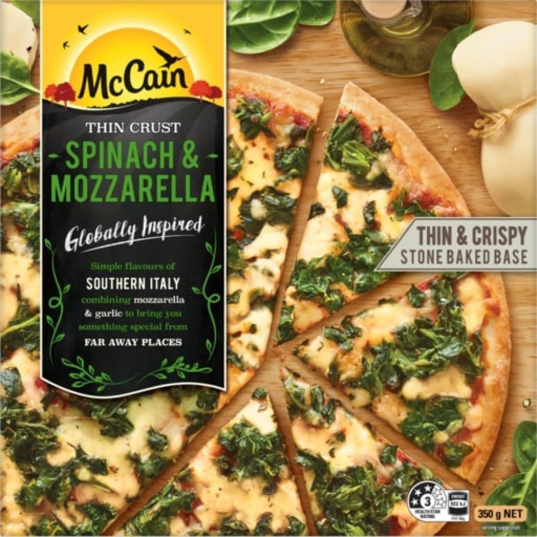 McCain Ultra Thin Crust Pizza Spinach And Mozzarella , 350 Gram