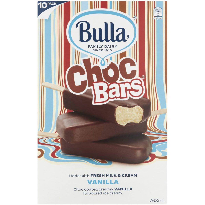 Bulla Choc Bars Vanilla, 10 Each