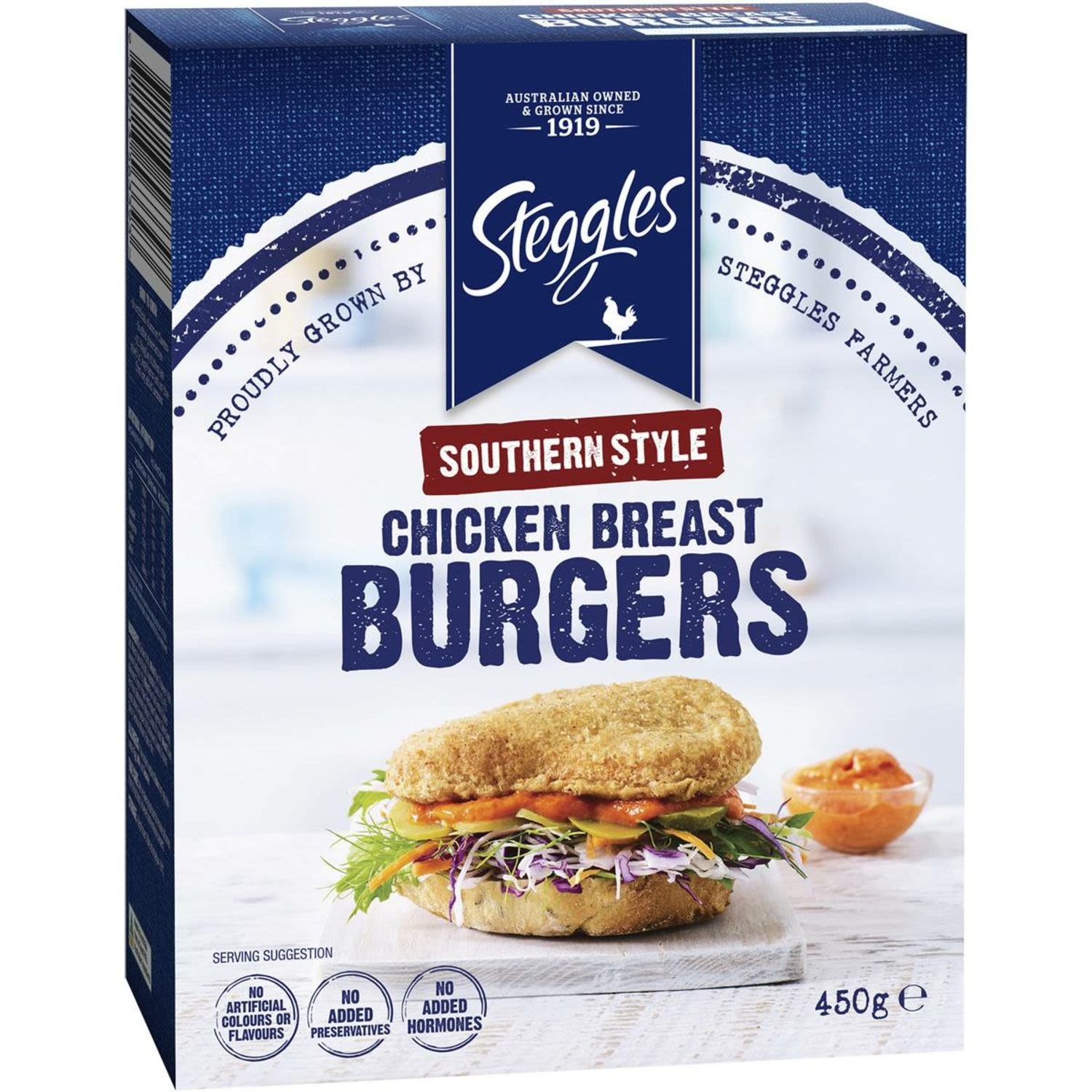 Steggles Chicken Pieces Burger Southern Style, 450 Gram