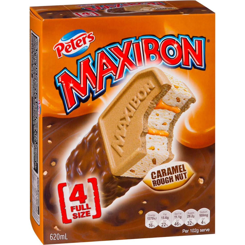 Peters Maxibon Ice Cream Caramel Rough Nut, 4 Each