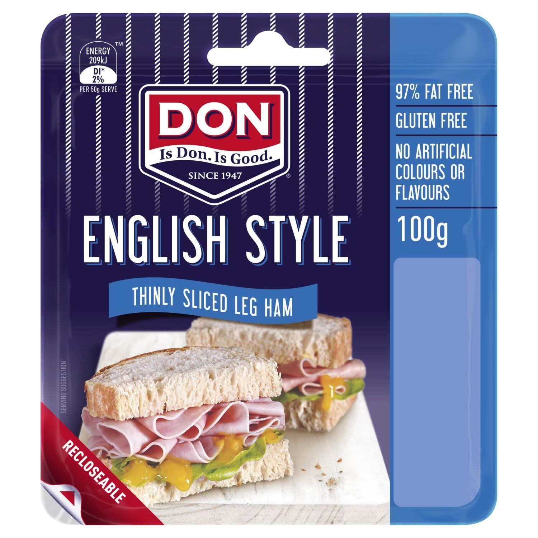 Don English Style Thinly Sliced Leg Ham , 100 Gram