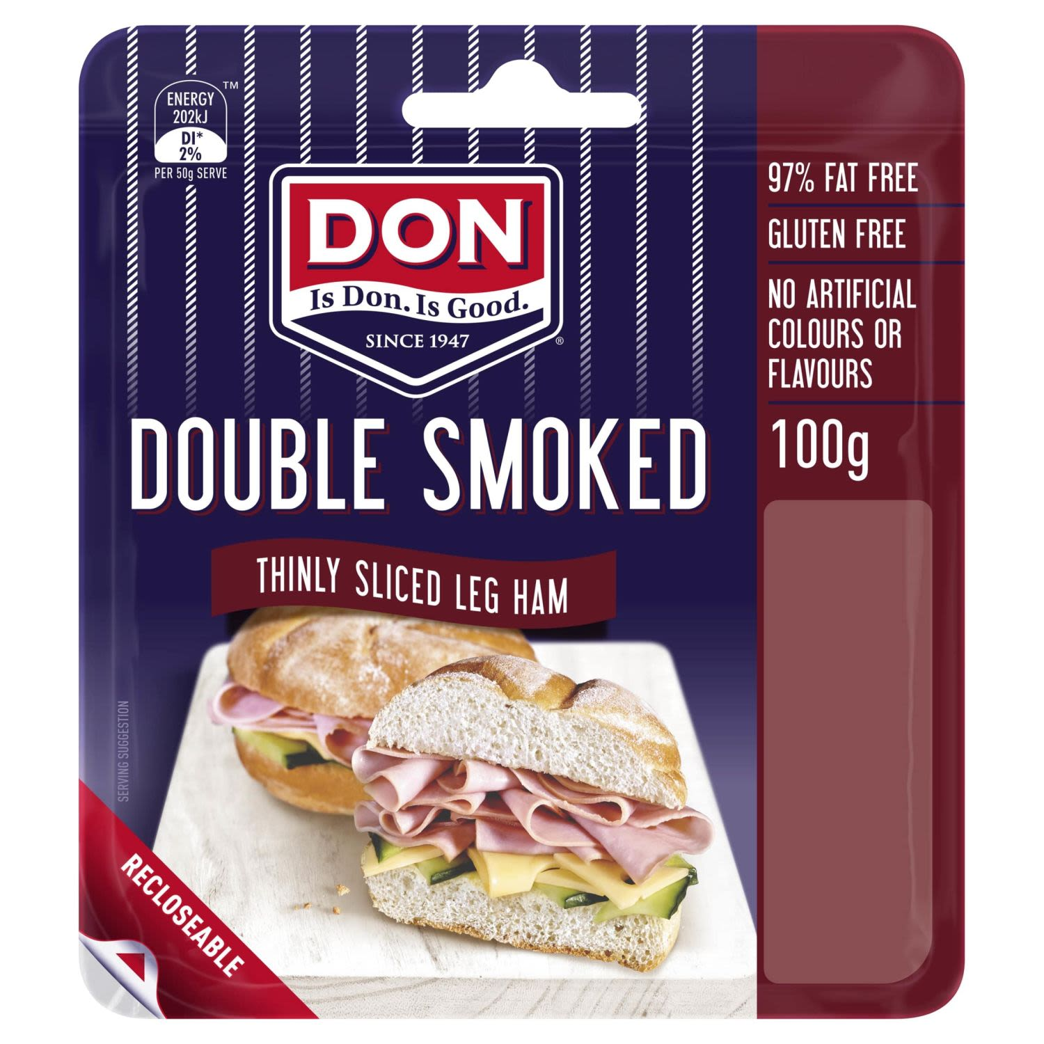 Don Double Smoked Thinly Sliced Leg Ham, 100 Gram
