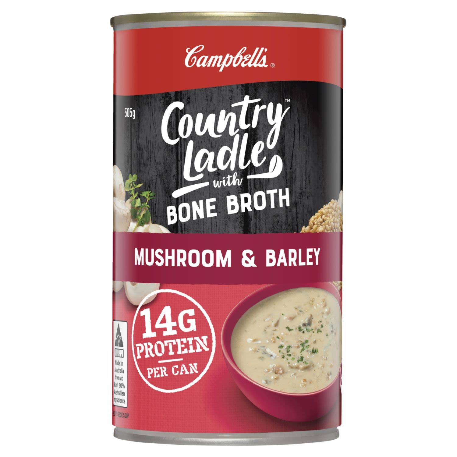 Campbell's Country Ladle Soup Mushroom & Barley with Beef Bone Broth, 505 Gram