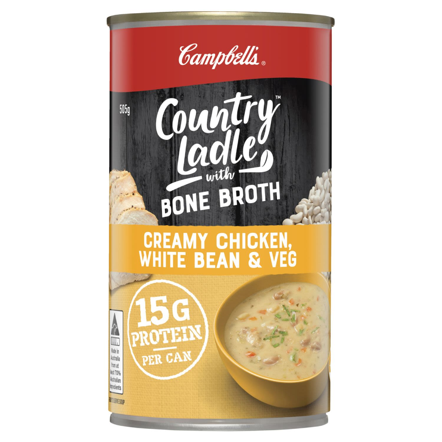 Campbell's Country Ladle Soup Creamy Chicken, White Bean & Veg with Chicken Bone Broth, 505 Gram
