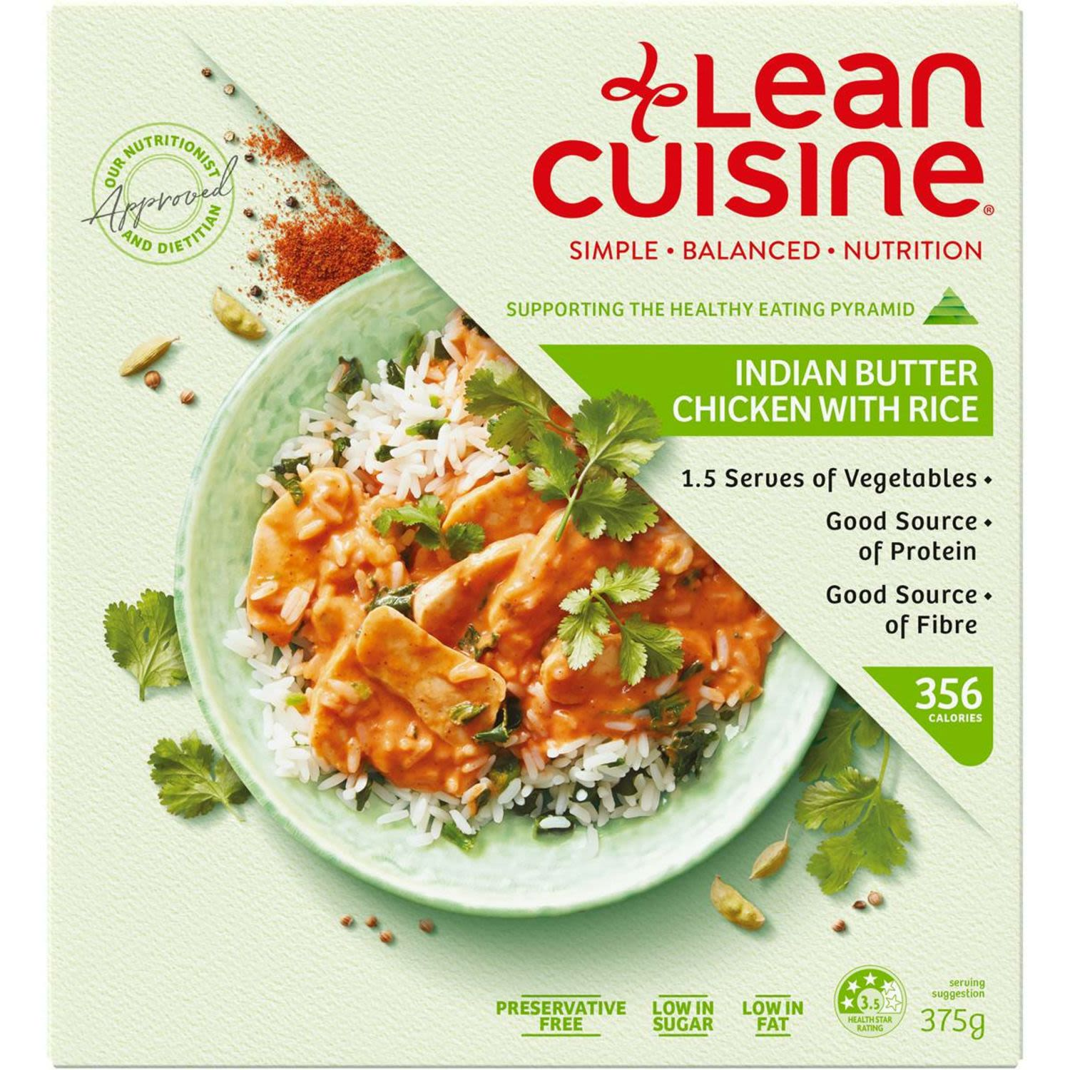 Lean Cuisine Indian Butter Chicken With Rice, 375 Gram