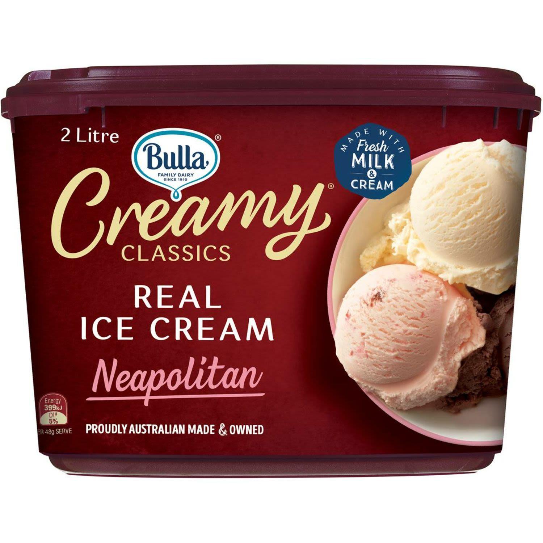 Bulla Creamy Classics Neapolitan Tub, 2 Litre