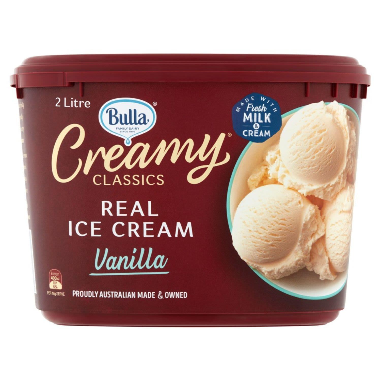Bulla Creamy Classics Ice Cream Vanilla, 2 Litre
