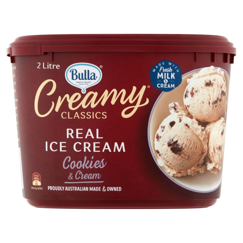 Bulla Creamy Classics Ice Cream Cookies & Cream, 2 Litre