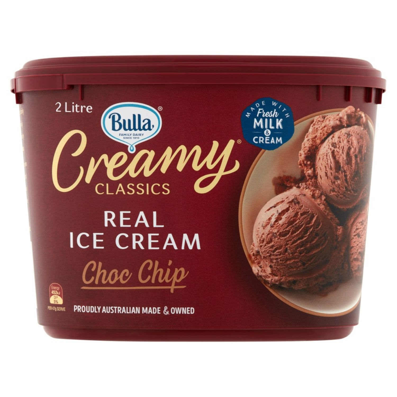 Bulla Creamy Classics Ice Cream Rich Choc Chip, 2 Litre