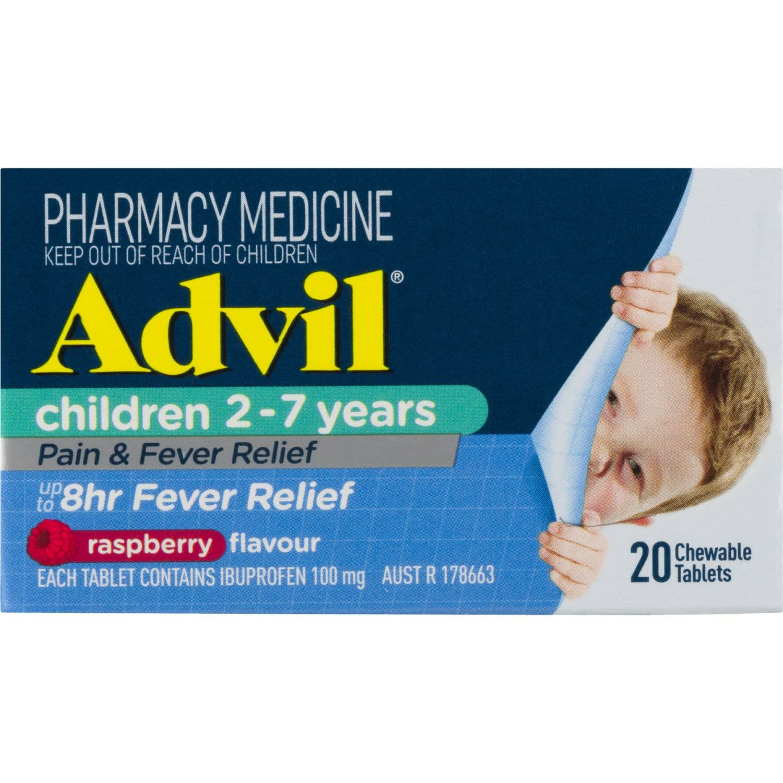 Advil Children 2-7 Years Chewable Raspberry, 20 Each