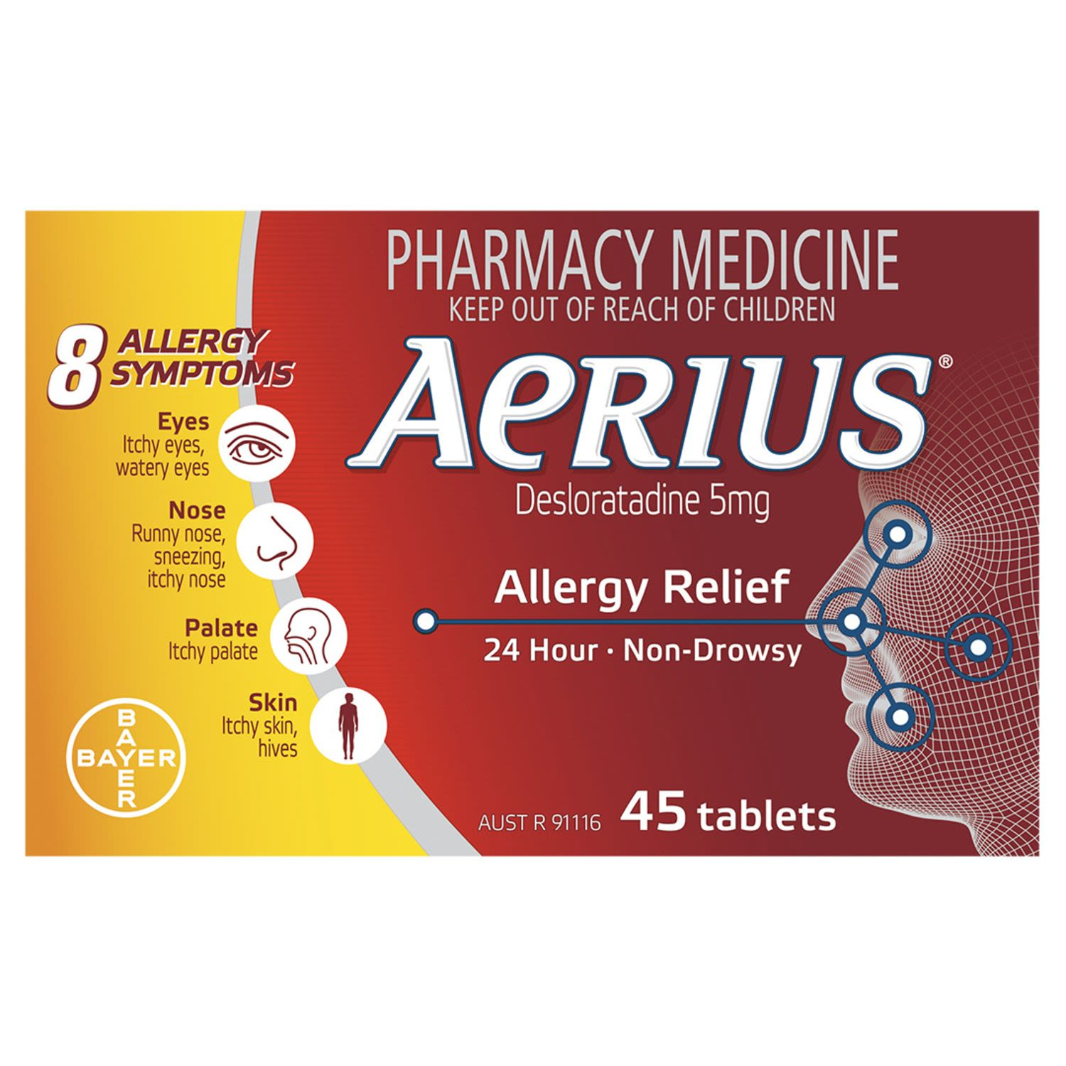 Aerius 24 Hour Non Drowsy Allergy Relief Antihistamine Tablets, 45 Each
