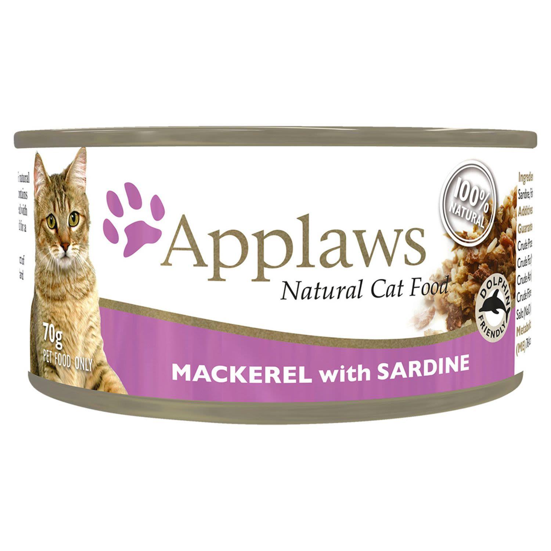 Applaws Cat Tin Mackerel with Sardine in Broth Cat food, 70 Gram