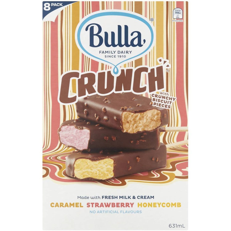 Bulla Caramel, Strawberry, Honeycomb Crunch Ice Creams, 8 Each