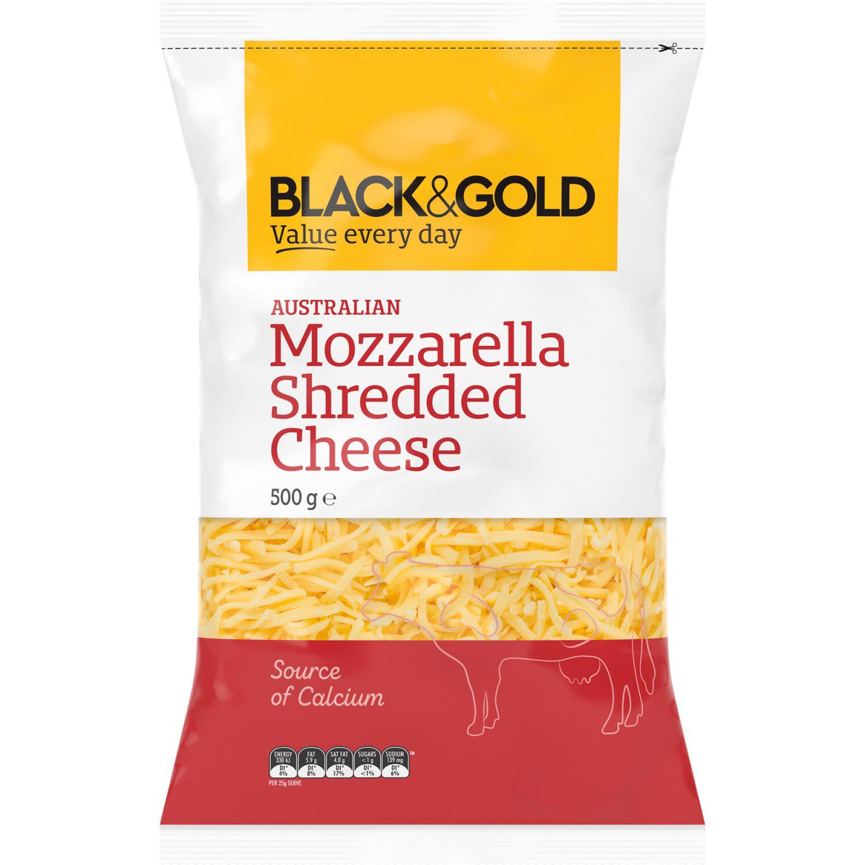 Black & Gold Shredded Mozzarella, 500 Gram