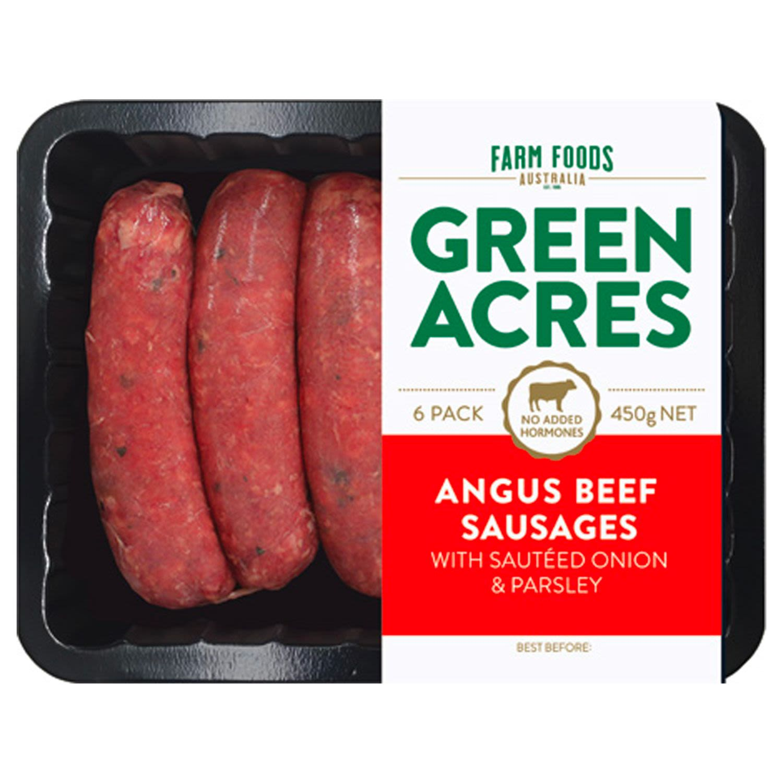 Farm Foods Sausages Angus Beef (6 Pack), 450 Gram
