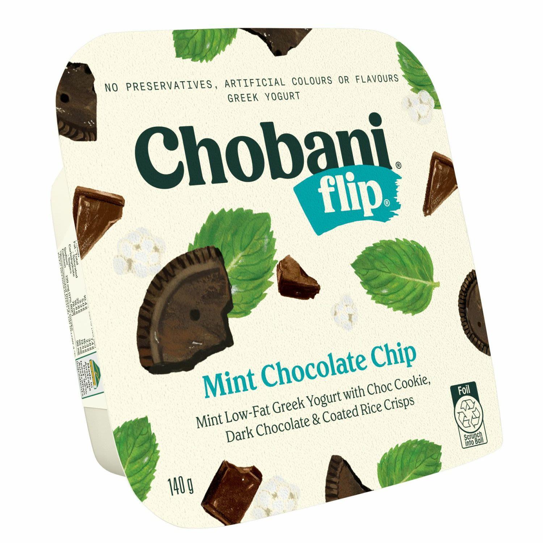Chobani Yoghurt Flip Mint Chocolate Chip, 140 Gram