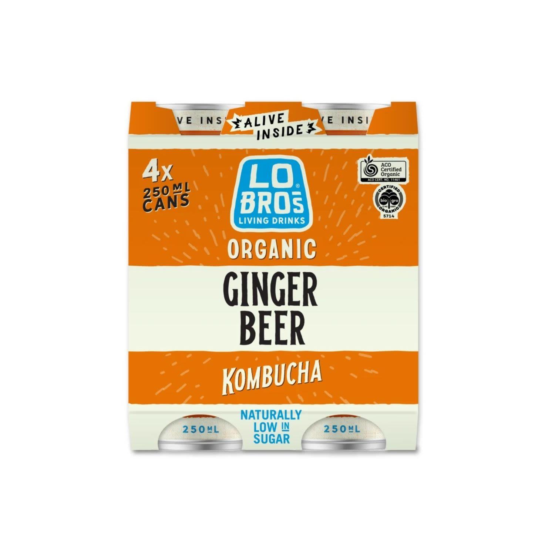 Lo Bros Organic Kombucha Ginger Beer Cans, 4 Each