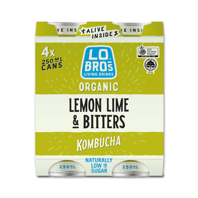 Lo Bros Organic Lemon Lime & Bitters Soda Cans, 4 Each