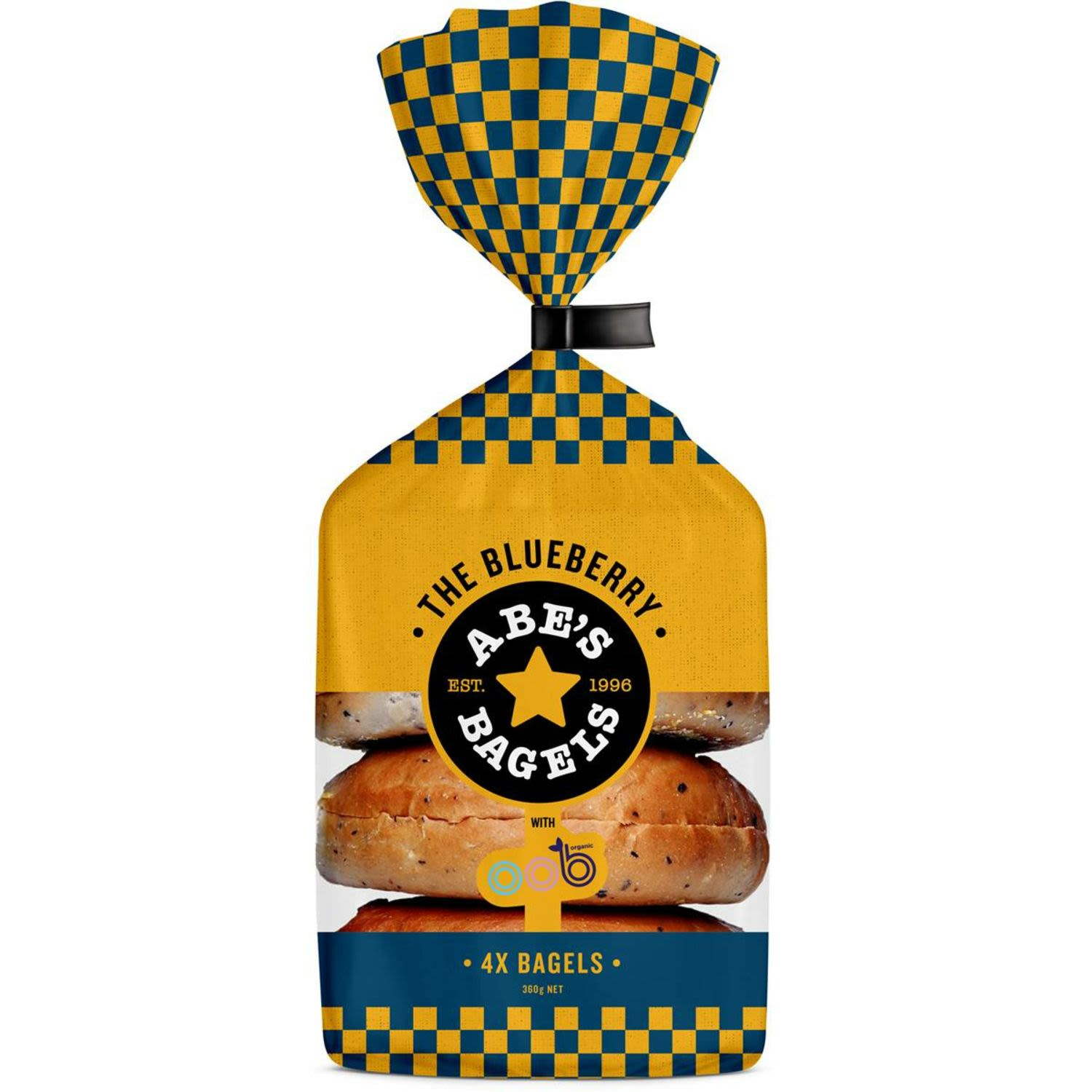 Abes Bagel Blueberry, 4 Each