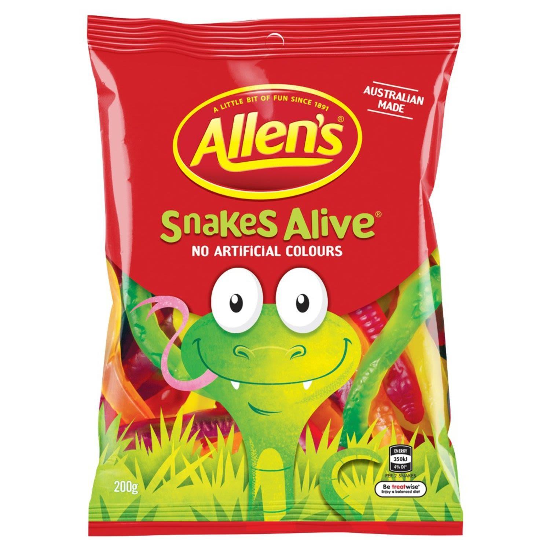 Allen's Snakes Alive Jelly Lolly Bag, 200 Gram