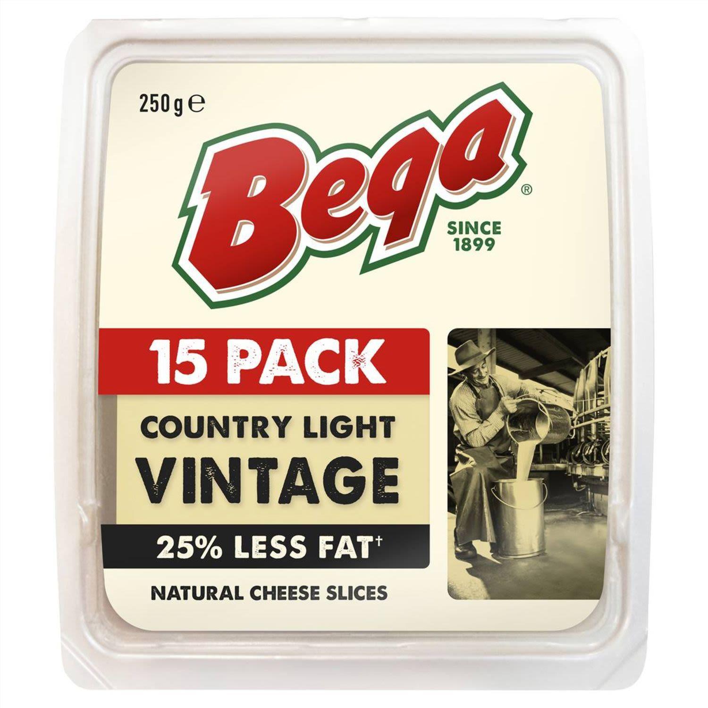 Bega Light Vintage 25% Reduced Fat Cheese 25 Slices, 250 Gram