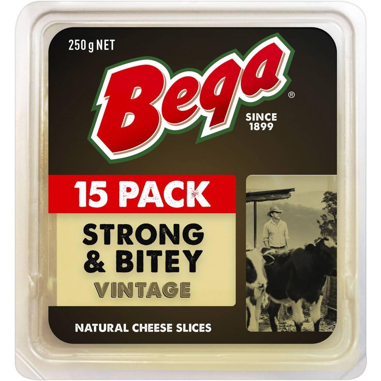 Bega Strong & Bitey Vintage Natural Cheese 15 Slices, 250 Gram