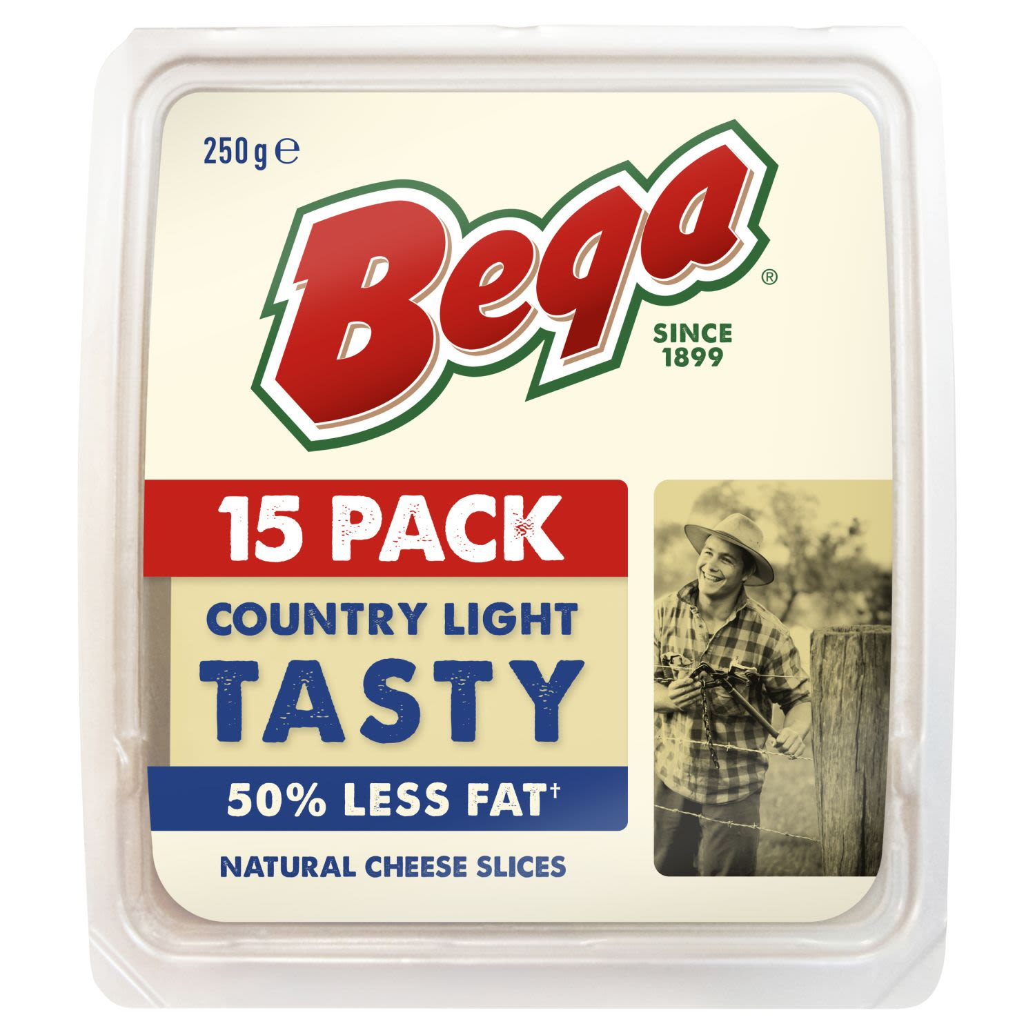 Bega Country Light Tasty 50% Less Fat Natural Cheese Slices , 15 Each