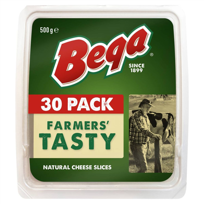 Bega Farmers' Tasty Natural Cheese 30 Slices, 500 Gram