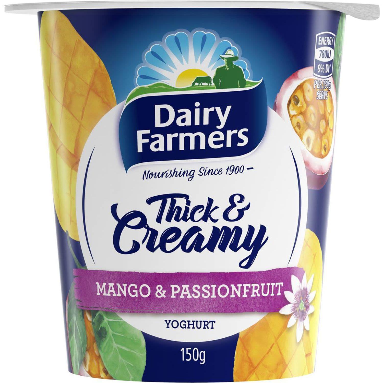 Dairy Farmers Yoghurt Thick & Creamy Mango & Passionfruit, 150 Gram