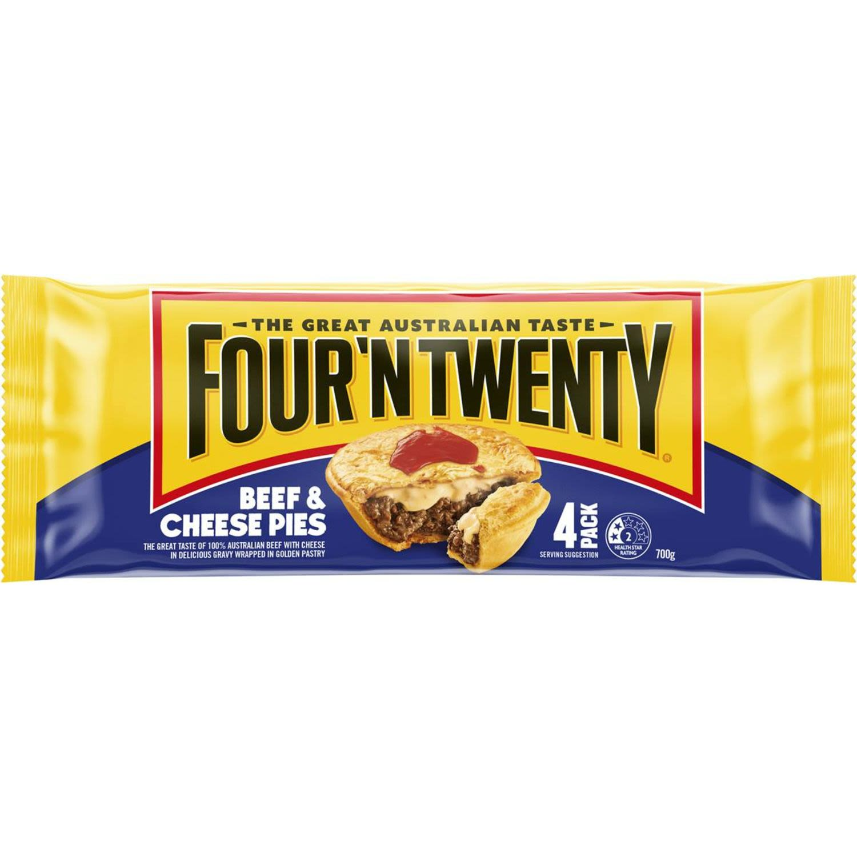 Four 'N Twenty Beef & Cheese Pies, 4 Each