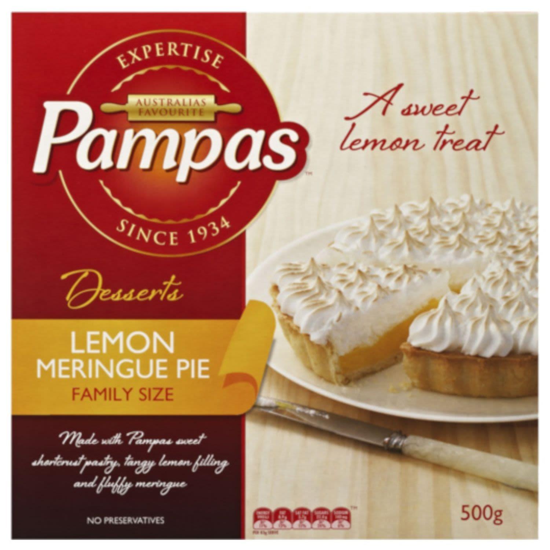 Pampas Pie Lemon Meringue Family Sized, 500 Gram