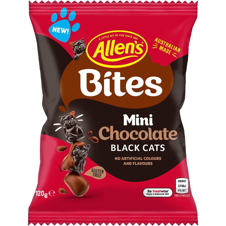 Allen's Bites Mini Chocolate Black Cats, 120 Gram