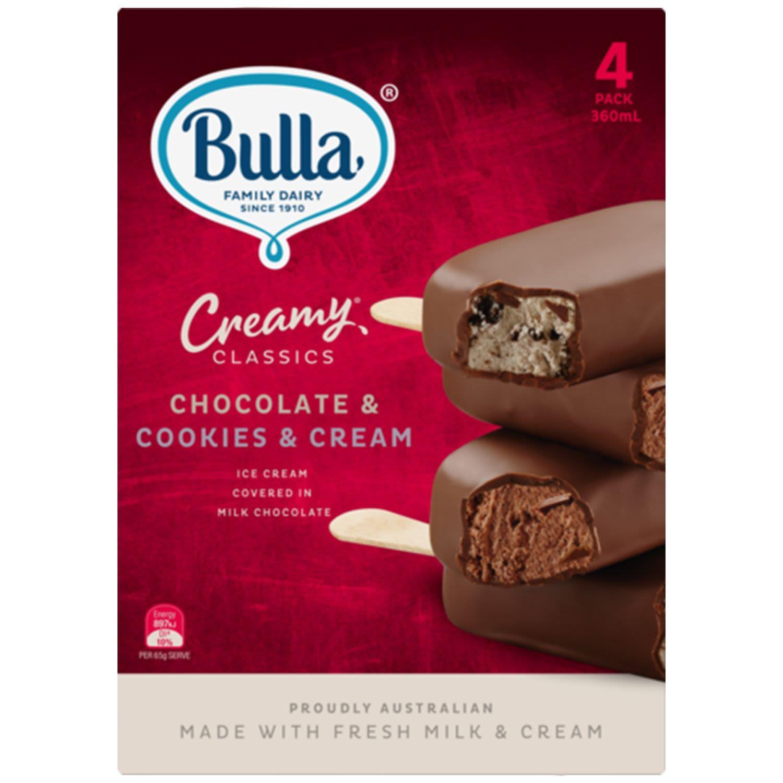 Bulla Creamy Classics Chocolate & Cookies & Cream, 4 Each