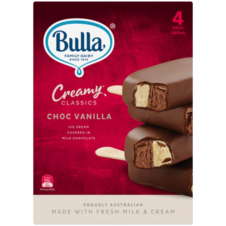 Bulla Creamy Classics Chocolate Vanilla Ice Cream, 4 Each