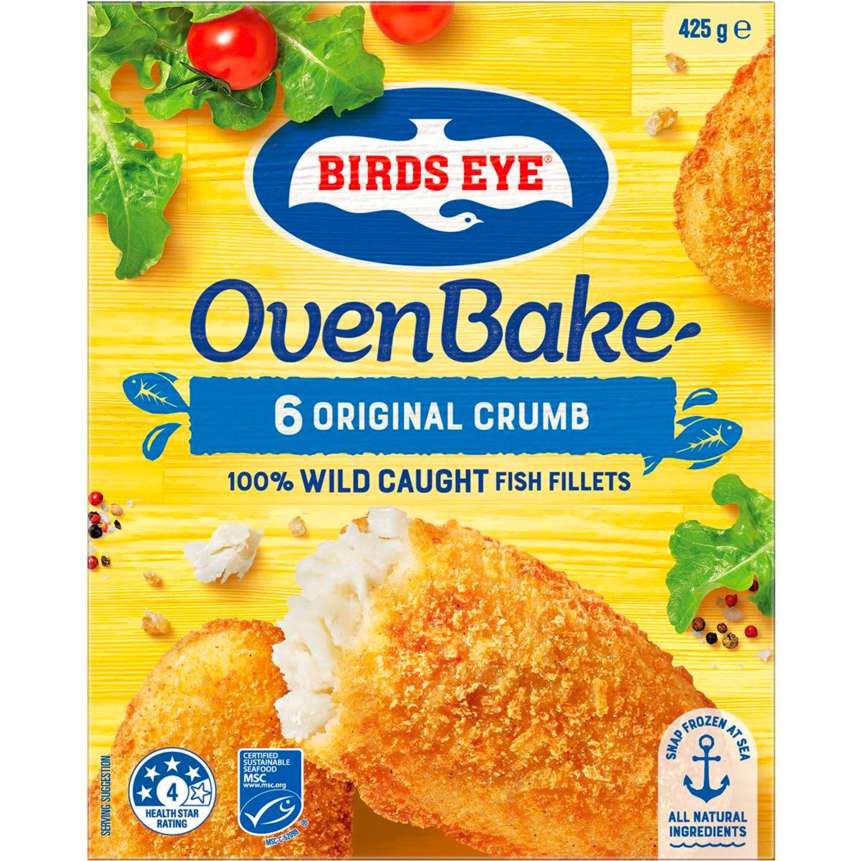 Birds Eye Oven Bake Original Crumb Hoki Fish Fillets, 6 Each