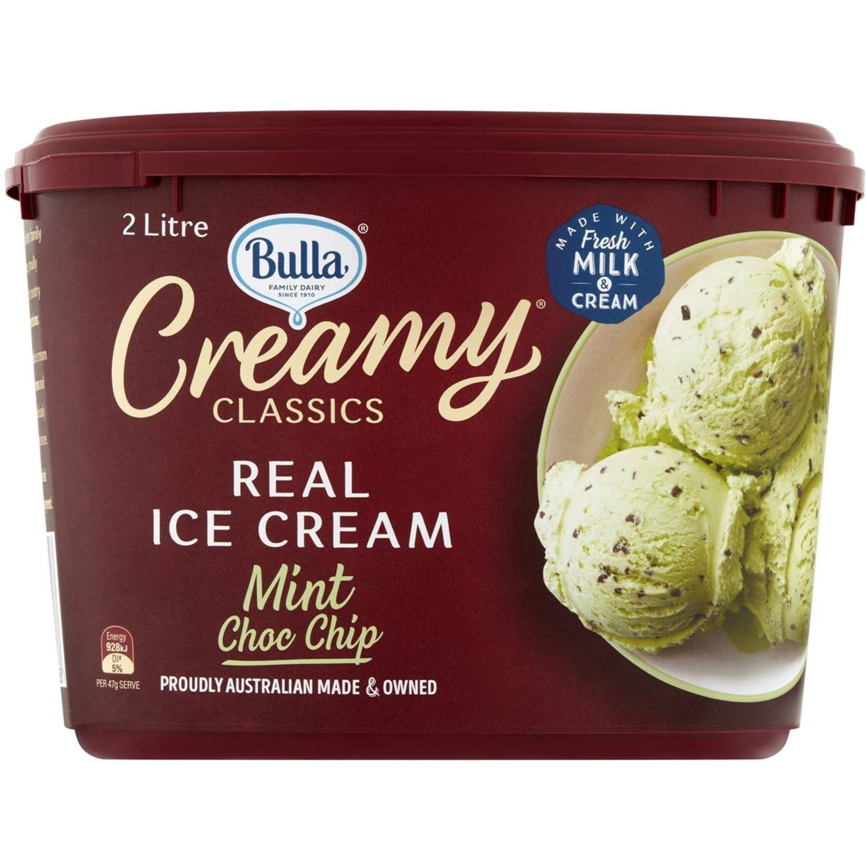 Bulla Creamy Classics Mint Choc Chip Ice Cream, 2 Litre