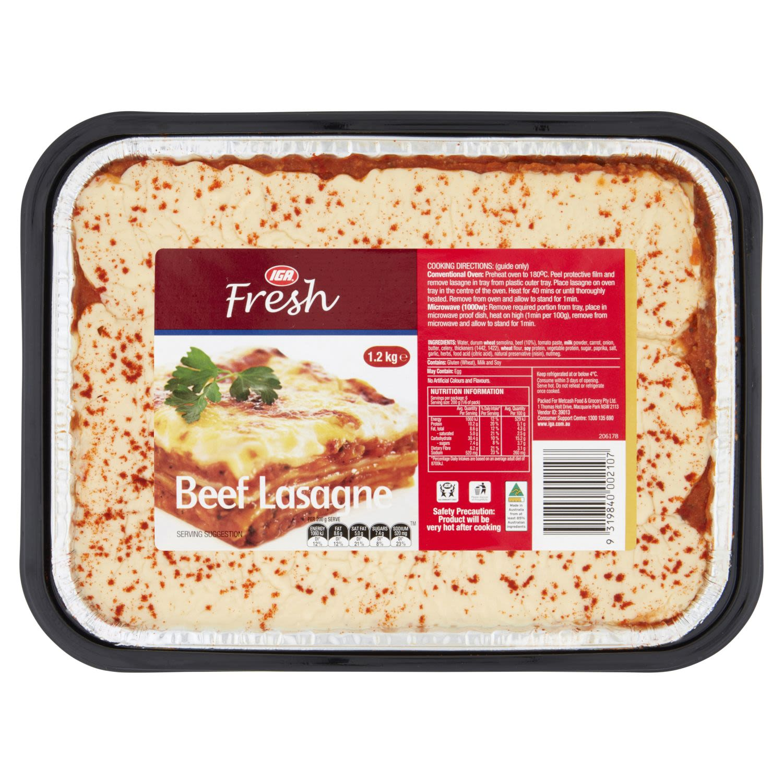 IGA Fresh Beef Lasagne, 1.2 Kilogram