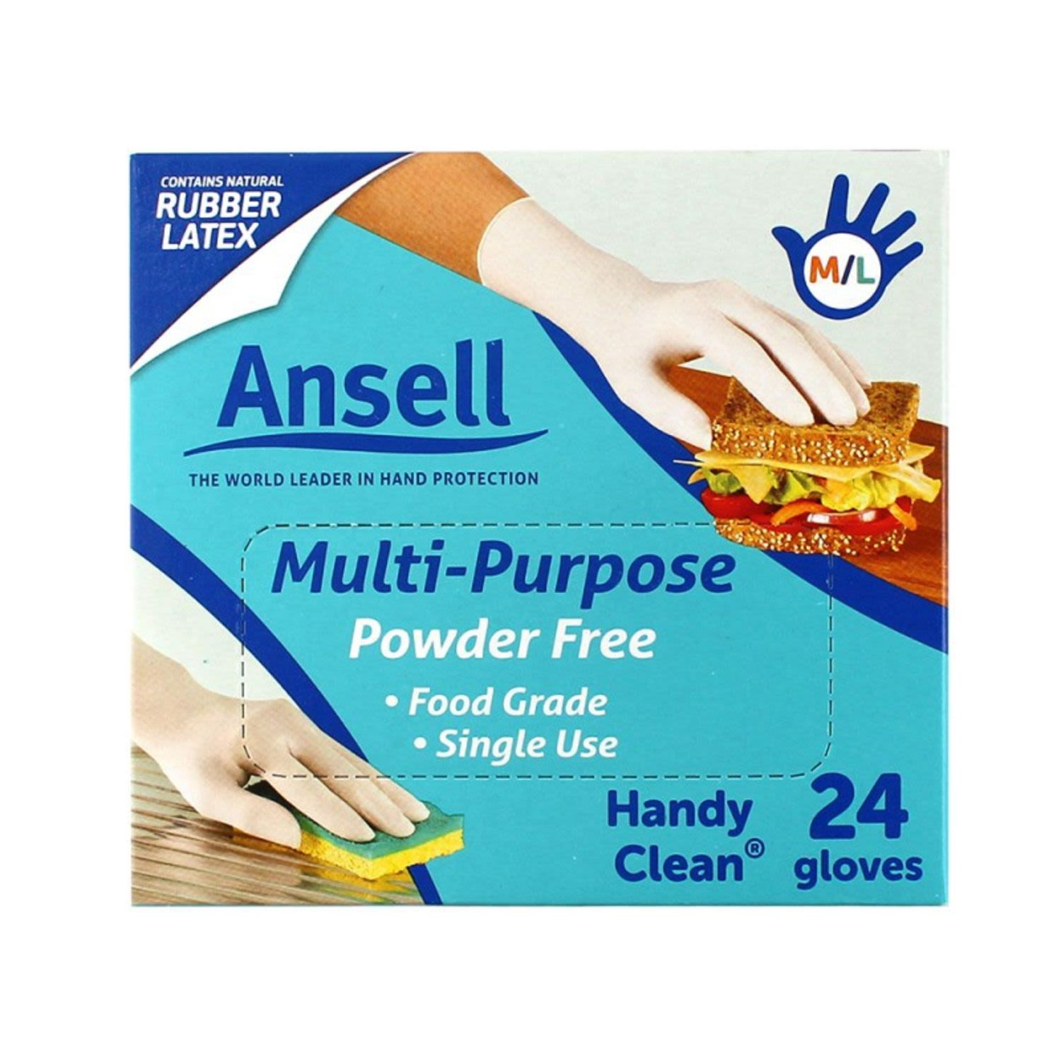 he soft and flexible natural rubber latex provides excellent comfort and flt with a sensitive touch. Ansell Handy Clean gloves fit either hand. - Ideal for household cleaning & food preparation - Powder free - Contains rubber latex for flexi comfort - Multipurpose use - Food grade - One size fit all / fit either hand - Available in packs of 24 & 100 CAUTION: This product contains natural rubber latex which may cause allergic reactions in some people. For those who are concerned about sensitivity or allergies to natural rubber latex or intend to handle chemicals, Ansell Heavy Duty or Ansell Multi-Sensitive single use gloves may be a suitable alternative. NOT FOR MEDICAL USE